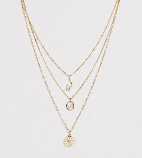 Reclaimed Vintage - Inspired - Mehrreihige Halskette mit Sternbildern-Gold