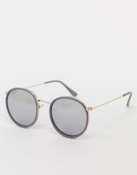 River Island - Runde Sonnenbrille in Gold