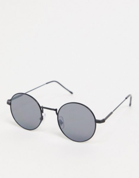 River Island - Runde Sonnenbrille mit flachen Gläsern in Schwarz