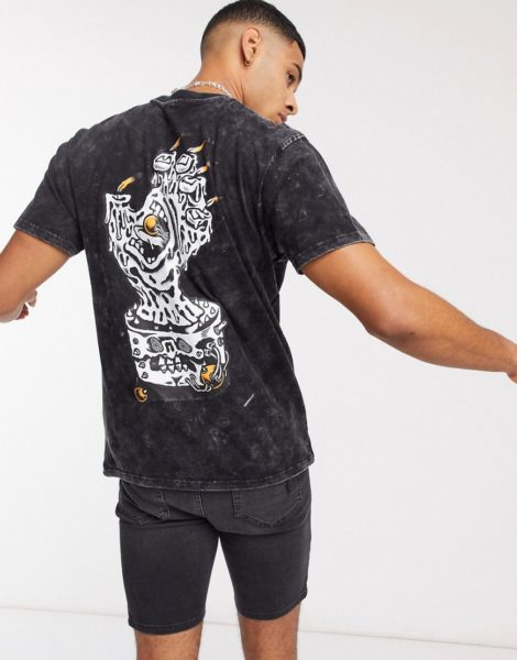 Santa Cruz - Black Magic - Schwarzes T-Shirt mit Handmotiv und Acid-Waschung
