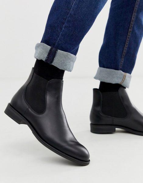 Selected Homme - Schwarze Chelsea-Stiefel aus Leder