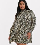 Simply Be - Hochgeschlossenes Swing-Kleid mit Leoparden- und Sternenprints-Mehrfarbig