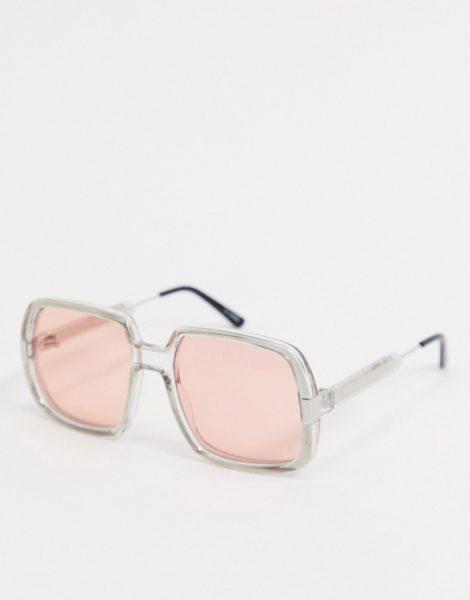 Spitfire - Rising With The Sun - Graue Oversize-Sonnenbrille im Retrolook mit rosafarbenen Gläsern