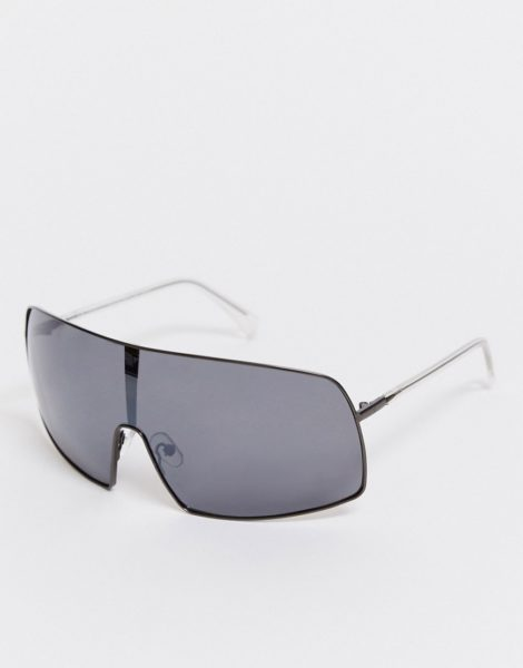 Weekday - Hike - Sonnenbrille mit schwarzen, verspiegelten Gläsern