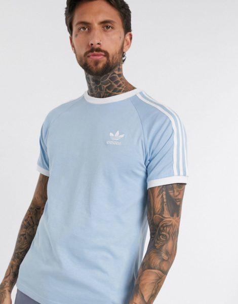 adidas Originals - T-Shirt mit 3 Streifen in Blau