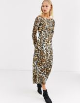 & Other Stories - Langärmliges Jersey-Kleid mit Leopardenprint-Mehrfarbig