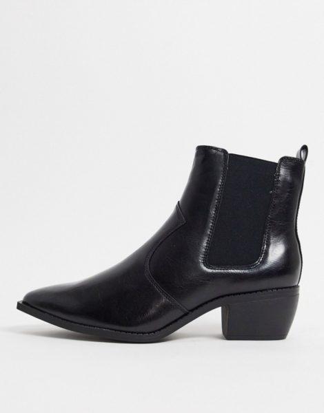 ASOS DESIGN - Chelsea-Stiefel im Westernstil aus schwarzem Kunstleder mit kubanischen Absätzen und eckiger Sohle