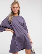 ASOS DESIGN - Graues T-Shirt-Kleid im Oversize-Stil