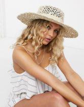 ASOS DESIGN - Größenverstellbarer Panama-Hut aus Naturstroh mit offenem Flechtdesign-Braun