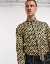 ASOS DESIGN - Schmale Krawatte in Braun mit Kettendesign