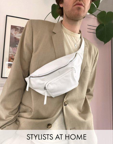 ASOS DESIGN - Weiße Umhänge-Gürteltasche mit Tasche vorn