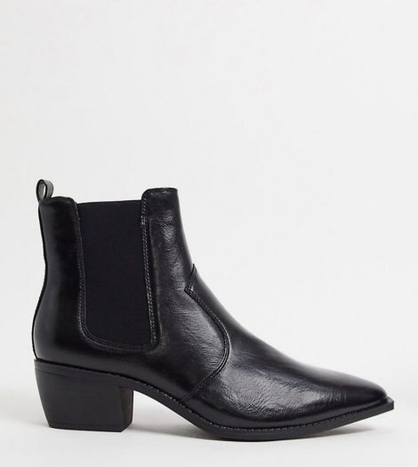 ASOS DESIGN - Weit geschnittene Chelsea-Stiefel im Westernstil aus schwarzem Kunstleder mit kubanischem Absätzen und eckiger Sohle