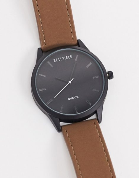Bellfield - Schwarze Uhr mit braunem Armband