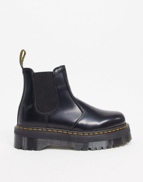 Dr Martens - 2976 Quad - Schwarze Chelsea-Stiefel mit Plateausohle