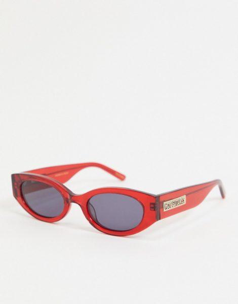 Hot Futures - Schmale, ovale Retro-Sonnenbrille in Rot mit Logo am Bügel