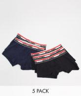 Jack & Jones - 5er-Pack Unterhosen mit abgesetztem Bund-Schwarz