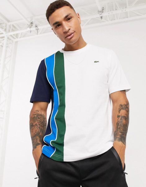 Lacoste - Weiße T-Shirt mit seitlichen Streifen