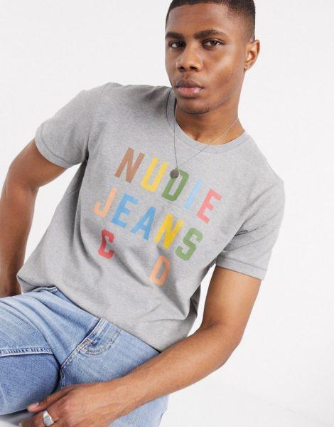 Nudie Jeans Co - Roy - Weißes T-Shirt mit Logo-Schriftzug