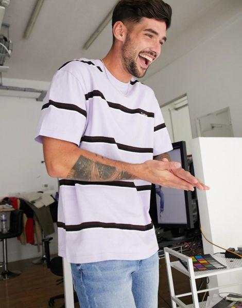 Topman - Gestreiftes T-Shirt in Lila-Violett