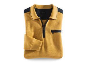 Walbusch Herren Bügelfrei Polo Pullover 2.0 einfarbig Safran