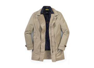 Walbusch Herren Coat normale Größen Beige einfarbig wasserabweisend