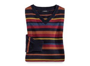 Walbusch Herren Streifen Pullover Cashmere Touch gestreift Terra/Rot