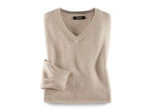 Walbusch Herren V Pullover Cashmere Touch einfarbig Sand