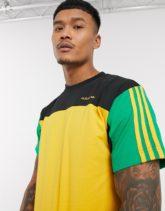 adidas Originals - Goldfarbenes T-Shirt mit Patchwork-Design-Gelb