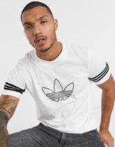 adidas Originals - Weißes T-Shirt mit Dreiblatt-Umriss