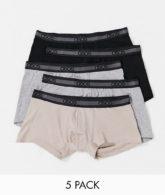 ASOS DESIGN - 5er Pack kurze Slips mit Ton-in-Ton-Bund, Rabatt-Mehrfarbig