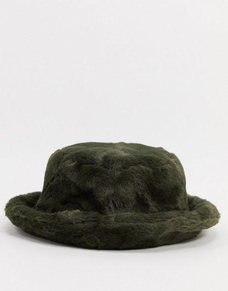 ASOS DESIGN - Anglerhut aus Kunstpelz in Khaki-Grün