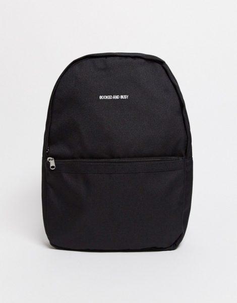 ASOS DESIGN - Kleiner Rucksack in Schwarz mit Stickerei