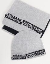 Armani Exchange - Geschenkset mit Strickmütze mit Logo und Schal, in Grau