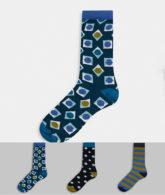 HS By Happy Socks - Socken im 3er-Geschenkset-Cremeweiß