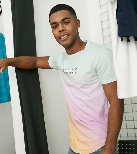 Hollister - T-Shirt mit Farbverlauf und Logo in Rosa