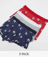 New Look - Boxershorts mit Fußballprint im 3er-Pack-Mehrfarbig