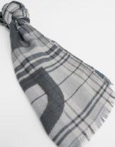Selected Homme - Karierter Schal mit Logo-Grau