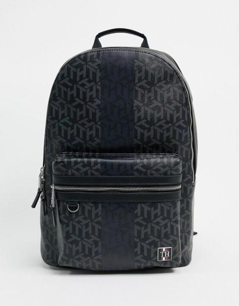 Tommy Hilfiger - Backpack aus Kunstleder mit Monogramm-Print-Schwarz