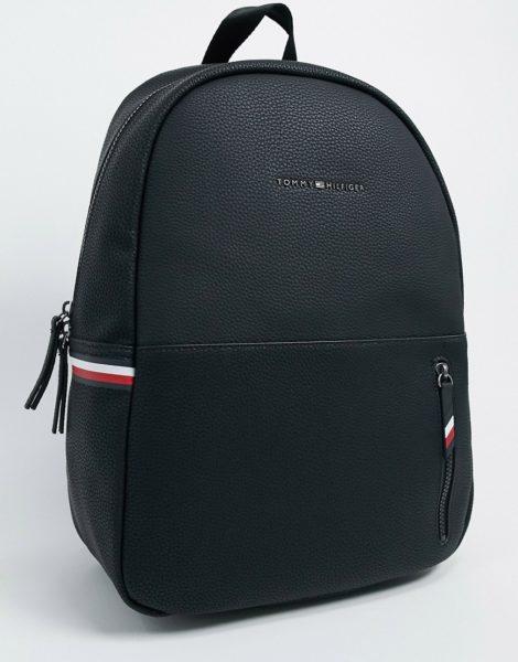 Tommy Hilfiger - Backpack aus schwarzem Kunstleder mit Logos seitlich, exklusiv bei ASOS