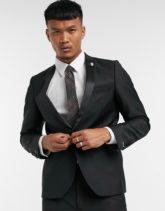 Twisted Tailor - Schwarze Smokingjacke mit Schal-Reverskragen aus Satin