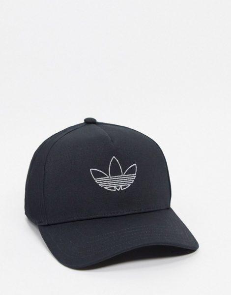 adidas Originals - Schwarze Kappe mit umrissenem Dreiblattlogo