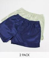 ASOS DESIGN - 2er-Pack Boxershorts aus Satin in Marine & Jade-Mehrfarbig