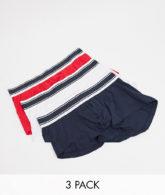 ASOS DESIGN - 3er-Pack kurze Unterhosen in Rot, Weiß und Blau-Mehrfarbig