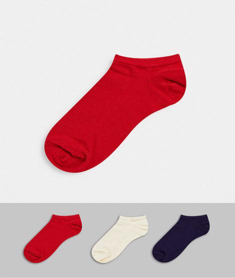 ASOS DESIGN - 3er-Set Sneaker-Socken in den Farben des Vereinigten Königreichs-Mehrfarbig
