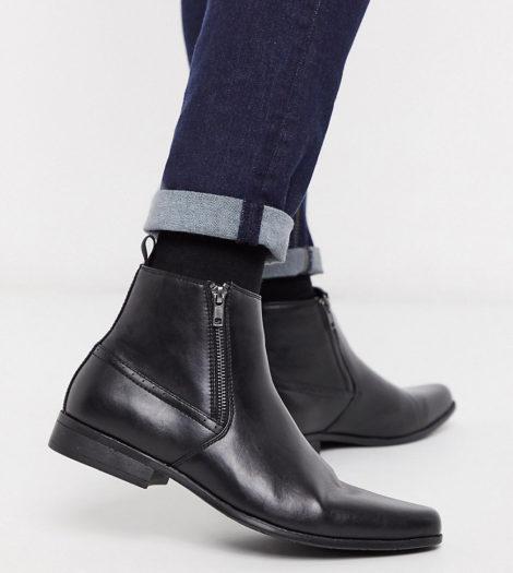 ASOS DESIGN - Chelsea-Stiefel aus Lederimitat mit Reißverschlüssen, weite Passform-Schwarz