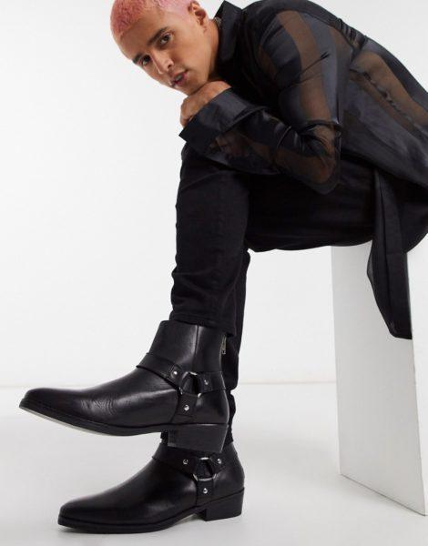 ASOS DESIGN - Chelsea-Stiefel im Westernstil aus schwarzem Leder mit Schnallendesign
