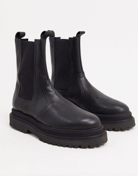 ASOS DESIGN - Hohe Chelsea-Stiefel aus schwarzem, hochglänzendem Leder mit Schichtabsatz