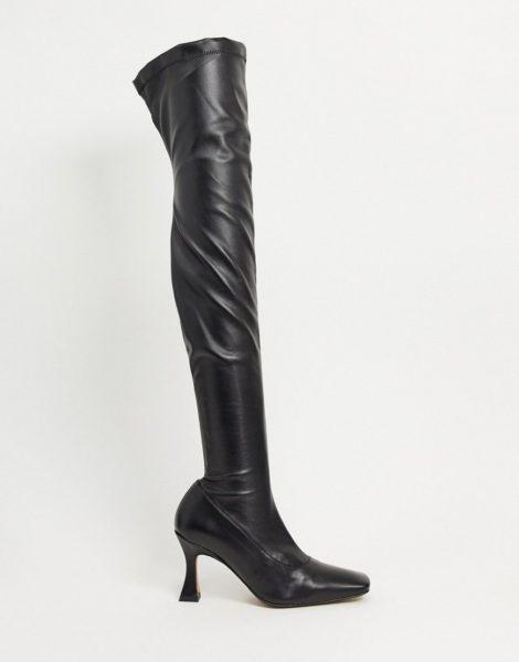 ASOS DESIGN - Keisha - Hochwertige Overknee-Stiefel mit ausgefallenem Absatz-Schwarz