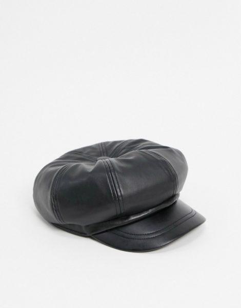 ASOS DESIGN - Lässige Baker-Boy-Mütze aus schwarzem PU