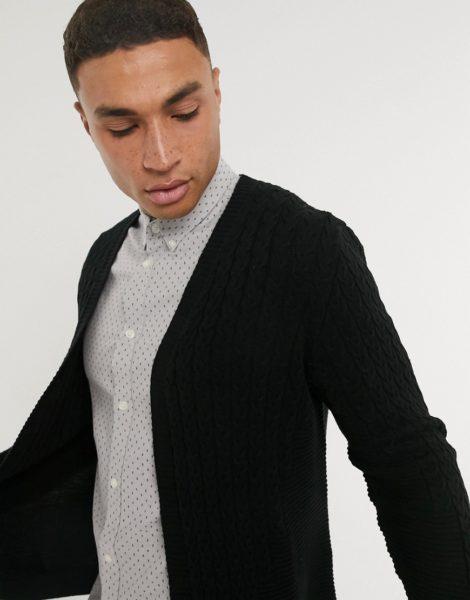 ASOS DESIGN - Leichte Strickjacke in Schwarz mit Zopfmuster-Grau